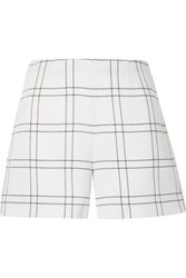 Akris Carlotta Checked Wool Blend Crepe Shorts Ivory