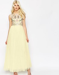 Needle And Thread Foliage Cluster Tulle Maxi Dress Yellow