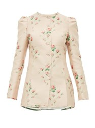 Brock Collection Floral Jacquard Single Breasted Satin Jacket Pink Multi