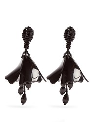 Oscar De La Renta Mini Impatiens Clip On Earrings Black