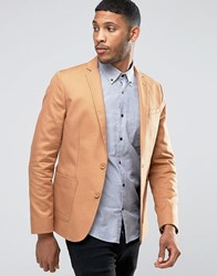 Asos Skinny Blazer In Washed Cotton In Camel Brown