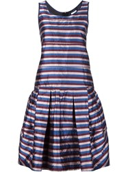 Odeeh Striped Pleated Dress Multicolour