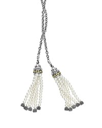 Lagos 18K Gold And Sterling Silver Caviar Icon Cultured Freshwater Pearl Tassel Lariat Necklace 42