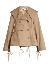 See By Chloe Double Breasted Cropped Cotton Trench Coat Beige