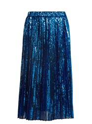 N 21 Sequin Embellished Pleated Skirt Blue