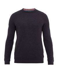 Ted Baker Men's Gridloc Cable Knit Crew Neck Jumper Navy