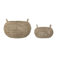 Bloomingville Round Seagrass Baskets Set Of 2 Natural