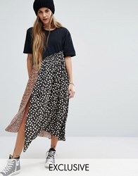 Reclaimed Vintage Midi T Shirt Dress With Deconstructed Smock Layers Multi