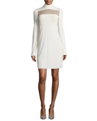 Calvin Klein Long Sleeve Sheer Paneled Dress Ivory