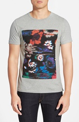 French Connection 'Flower Glitch' Graphic T Shirt Grey Melange