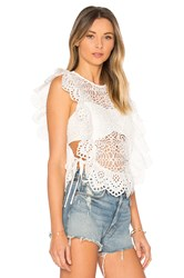 Nightcap Eyelet Apron Top White