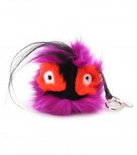 Fendi Bag Bugs Charm With Fox And Rabbit Fur Purple