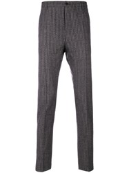 Al Duca D'aosta 1902 Striped Tailored Trousers Virgin Wool Brown