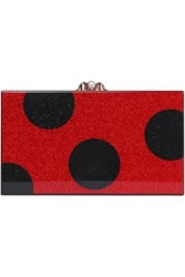 Charlotte Olympia Printed Glittered Acrylic Box Clutch Red