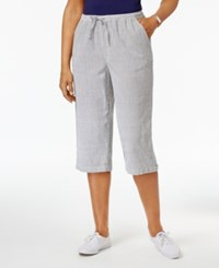 Karen Scott Petite Cotton Seersucker Drawstring Capri Pants Only At Macy's Intrepid Blue Combo