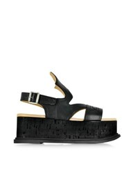 Maison Martin Margiela Black Leather Wedge Sandal