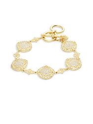 Freida Rothman Classic 14K Gold Plated Sterling Silver Pave Disc Bracelet