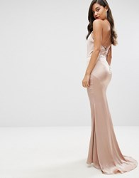 Jarlo High Neck Satin Maxi Dress With Lace Up Back Nude Pink