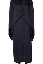 Roland Mouret Hinsby Off The Shoulder Layered Hammered Silk Dress Navy