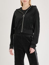 Moandco. Embellished Velour Hoody Black