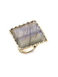 Lana Gloss Studded Gold Ring Blue