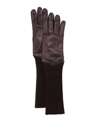 Portolano Perforated Leather Rib Cuff Long Gloves Navy Brown