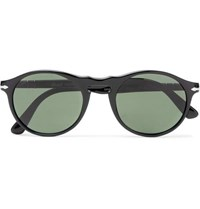 Persol Round Frame Acetate And Silver Tone Sunglasses Black