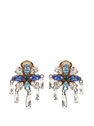 Shourouk Crystal Embellished Clip On Earrings Blue