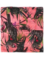 Paul Smith Ps By Macaw Print Scarf Pink Purple