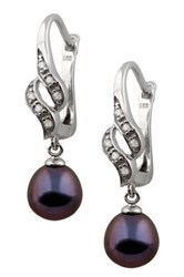 7.5 8Mm Black Freshwater Pearl And Cz Accented Ribbon Earrings