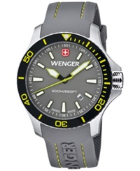 Wenger Men's Swiss Sea Force Gray Silicone Rubber Strap Watch 43Mm 01.0641.110
