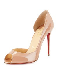 Christian Louboutin Demi You Half D'orsay Peep Toe Red Sole Pump Nude