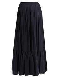 Loup Charmant Flores Tiered Cotton Maxi Skirt Navy