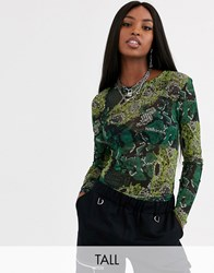 Noisy May Tall Viggo Long Sleeve Snake Print Mesh Top In Green