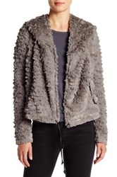 Bb Dakota Richie Faux Fur And Faux Leather Jacket Gray