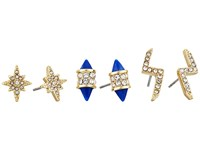 Vince Camuto Multi Stud Mix Earrings Gold Crystal Navy Resin Earring