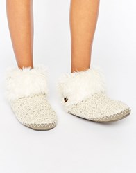 Bedroom Athletics Ariana Aran Knit Slipper Boot Natural Cream