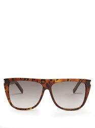 Saint Laurent Flat Top Acetate Sunglasses Tortoiseshell