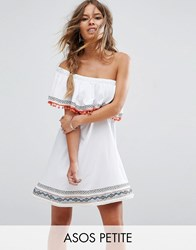 Asos Petite One Shoulder Sundress With Aztec Trims And Pom Poms White