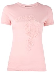 Ermanno Scervino Bird Embroidered T Shirt Women Silk Cotton Viscose 44 Pink Purple