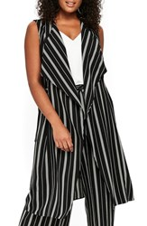 Evans Plus Size Stripe Sleeveless Jacket Black White