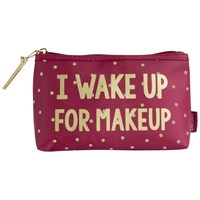 John Lewis 'I Wake Up For Makeup' Pouch Red Multi