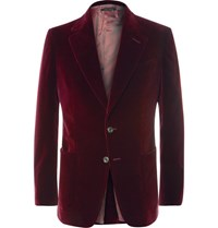 Tom Ford Merlot Shelton Slim Fit Cotton Velvet Tuxedo Jacket Red
