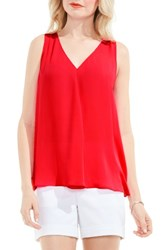 Vince Camuto Women's Pleat Front A Line Blouse Red Hot