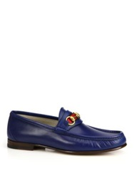 Gucci Leather Horsebit Loafers Dark Brown Royal Blue