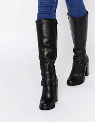 Warehouse Leather Knee High Boots Black