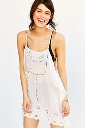 Staring At Stars Scarf Embroidered Mini Slip Dress White