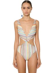 Missoni Viscose Knit Lame One Piece Swimsuit Multicolor