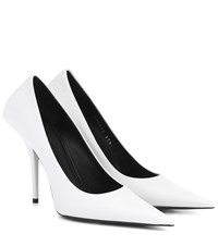 Balenciaga Square Knife Leather Pumps White
