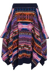 Sibling Asymmetric Fair Isle Wool Skirt Navy